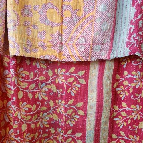 Kantha Sari Throw Blanket #536