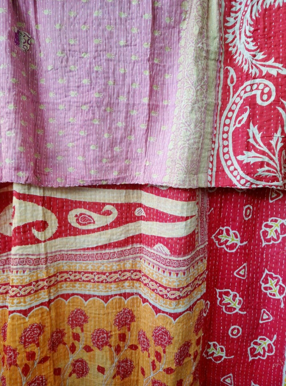 Kantha Sari Throw Blanket #537