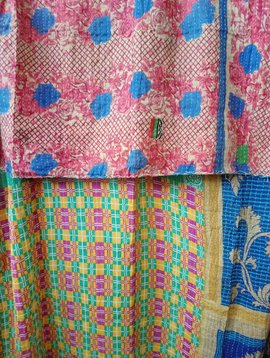 Kantha Sari Throw Blanket #541