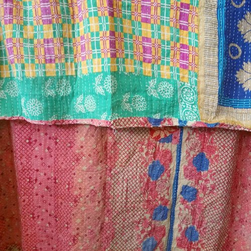 Kantha Sari Throw Blanket #541