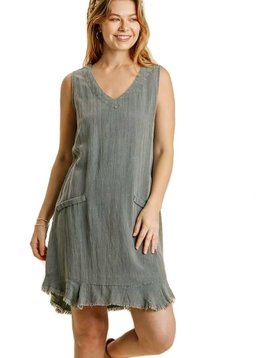 Blue Gray Raw Hem Dress