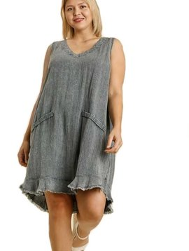 CURVY Blue Gray Raw Hem Dress