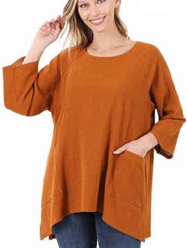 Almond Gauze Pocket Top