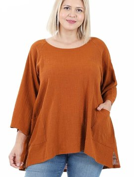 CURVY Almond Gauze Pocket Top