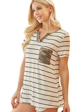 CURVY Camo Pocket Stripe Top