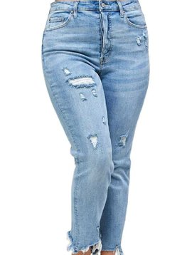 CURVY Distressed Ankle Jeans