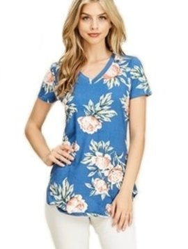 Denim Floral Short Sleeve Top