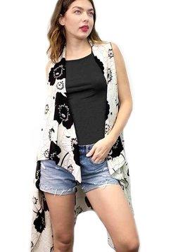 White & Black Floral Drape Front Vest