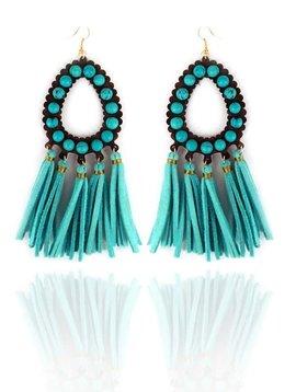 Turquoise Beaded Teardrop Tassel Earring