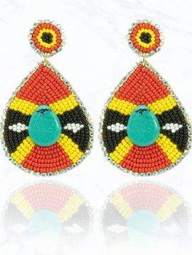 Colorful Beaded Teardrop Earring