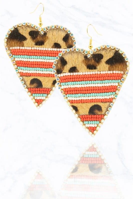 Animal Print Seed Bead Heart Earring