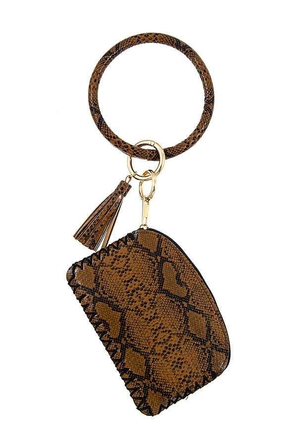 Snake Print Mini Zipper Pouch & Bracelet Key Ring