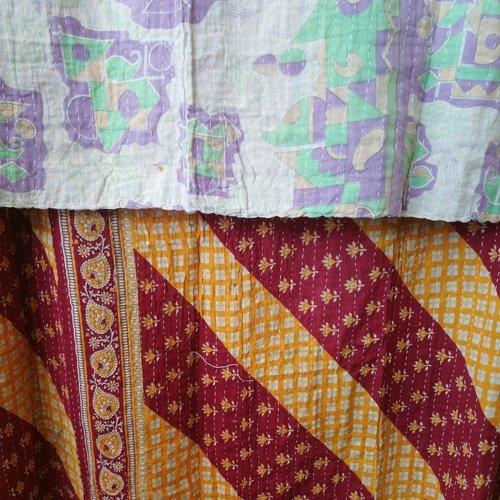 Kantha Sari Throw Blanket #607