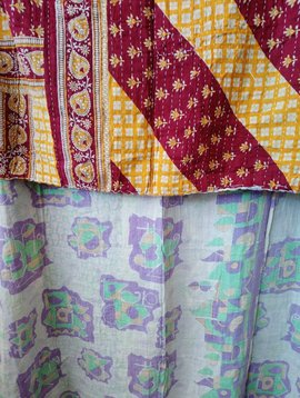 Kantha Sari Throw Blanket #607
