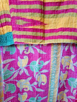 Kantha Sari Throw Blanket #606