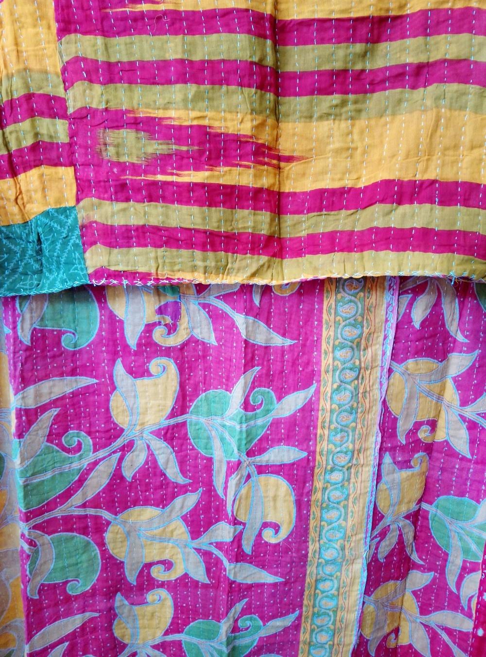Kantha Sari Throw Blanket #606