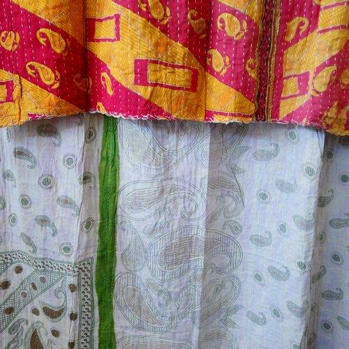 Kantha Sari Throw Blanket #605