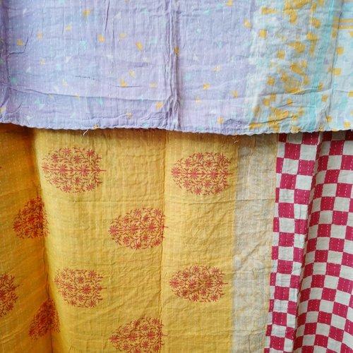 Kantha Sari Throw Blanket #610
