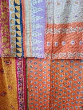 Kantha Sari Throw Blanket #581
