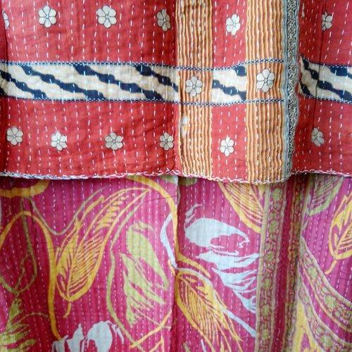 Kantha Sari Throw Blanket #596