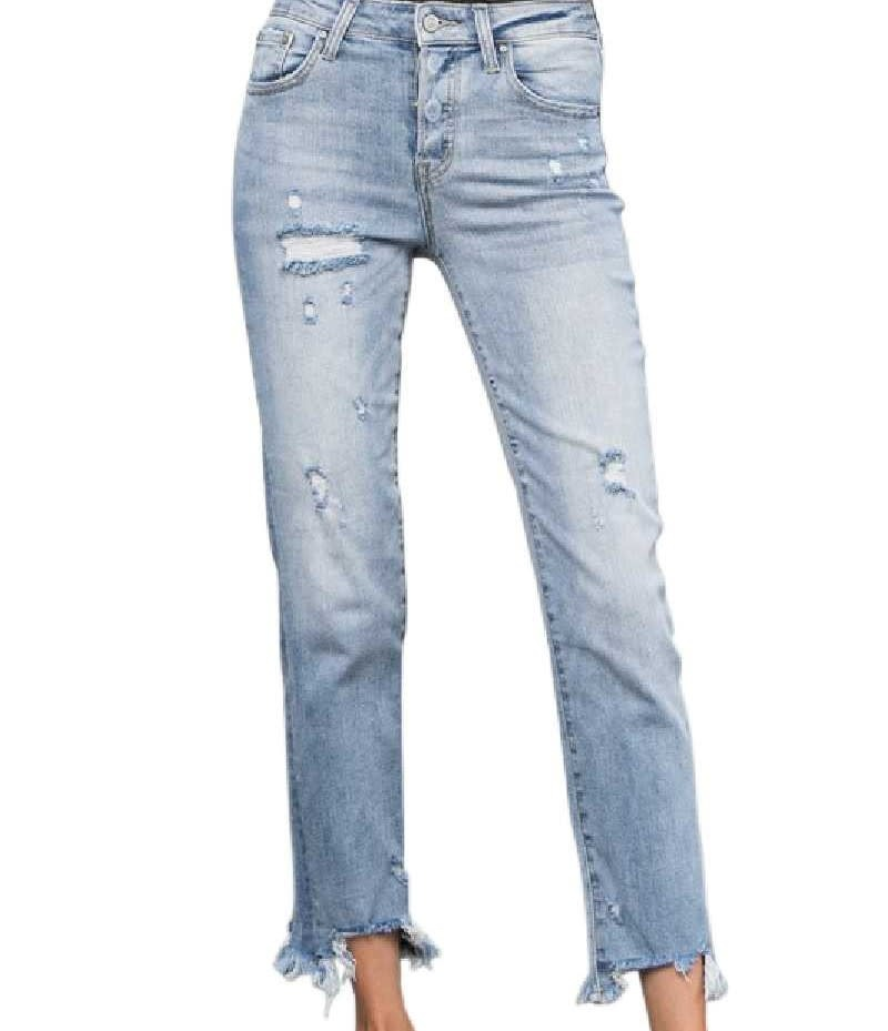 Midwaist Distressed Ankle Jeans