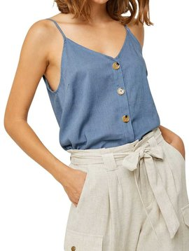 Blue Linen Button Down Tank