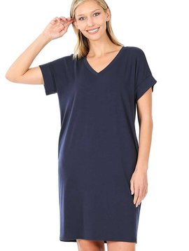 Navy Rolled Sleeve V Neck Dress