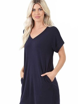 CURVY Navy Rolled Sleeve V Neck Tunic