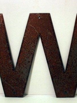 Rusted Metal Letter W 18""