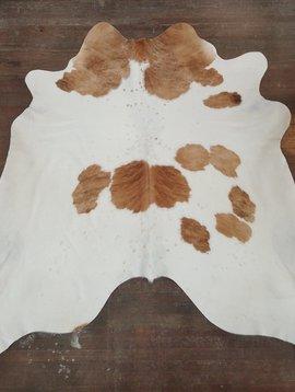 White & Brown Spotted Brindle Cowhide Rug 0028