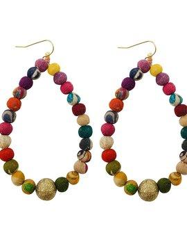 Kantha Luna Drop Hoop Earrings