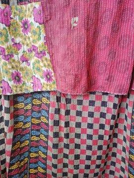 Kantha Sari Throw Blanket #619