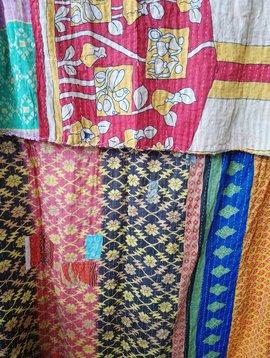 Kantha Sari Throw Blanket #647