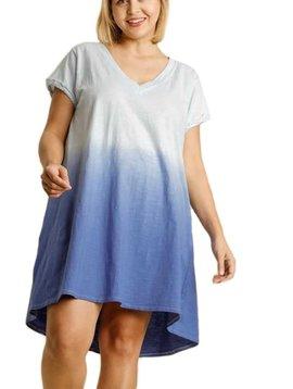 CURVY Ice Blue Dip Dye Dress