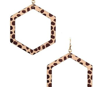 Leopard Print Hexagon Earring