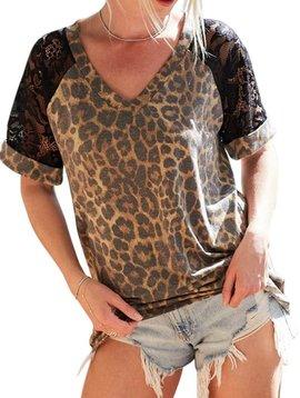 Leopard & Lace Short Sleeve Top