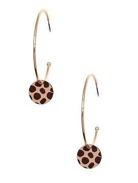 Leopard Wood Dangle Hoop Earring