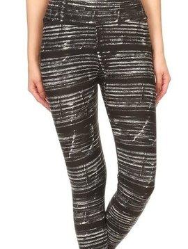 Black N White Static Yoga Legging