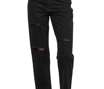 Black Denim Distressed High Rise Jeans