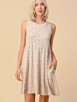 Khaki Leopard Sleeveless Dress