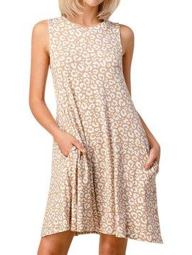 CURVY Khaki Leopard Sleeveless Dress