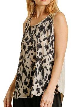Oatmeal Leopard Sleeveless Top