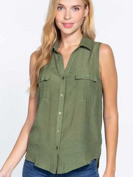 Olive Sleeveless Button Down Top