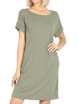 Light Olive Rolled Sleeve Dress