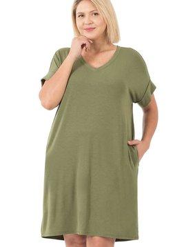 CURVY Light Olive Rolled Sleeve Dress