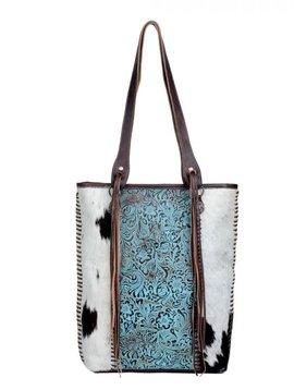 Blue Ripple Leather & Cowhide Bag