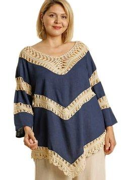 CURVY Navy Linen Blend Crochet Top