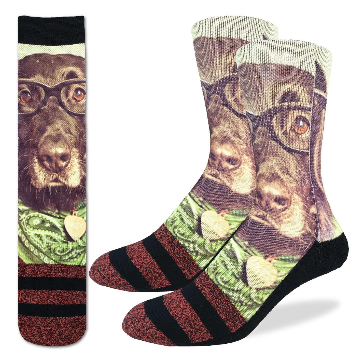 Hipster Dog Men's Crew Socks