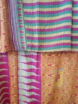 Kantha Sari Throw Blanket #590