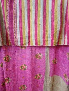 Kantha Sari Throw Blanket #694